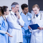 Square medical team discussing together